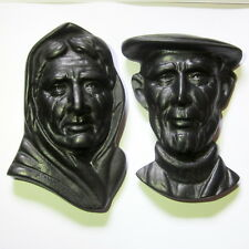 Set 2 OWEN Irish Carved Figures turf Craft Ballyshannon Donegal wall plaque