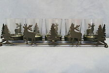 "Christmas Decor - Black Metal Holder w Trees & Deer Holds 5 Votive Candles 13"" L"