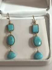 BEAUTIFUL PERSIAN TURQUOISE & 18K YG TRIPLE DROP CHANDELIER -  EARRINGS   - NWT