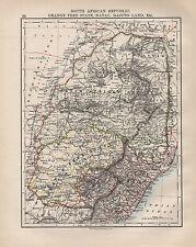 1902 VICTORIAN MAP ~ SOUTH AFRICAN REPUBLIC ORANGE FREE STATE NATAL BASUTO LAND