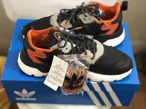 Adidas Nite Jogger Mens Athletic Sneakers Core Black/Orange Size 10 1/2
