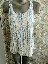 LUCKY BRAND Blue Tie-Dye Look Tank TOP Eyelet Embroidery Work Front - Sz M