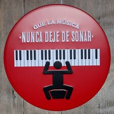 Metal Tin Sign la musica nunca deje de sonar Bar Pub Retro Poster 30cm diameter