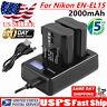 US EN-EL15 Battery + LCD Charger For Nikon D600 D750 D7000 D7200 D800 D810 V1 UB