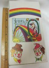 NOS Box 50 Pack 70s WORLD Rainbow CIGARETTE Rolling PAPER SPAIN Clown Sun Star