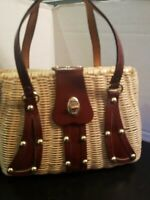 Vintage Mid Century Straw Wicker Coated Leather Strap Hand Bag Purse Hong Kong