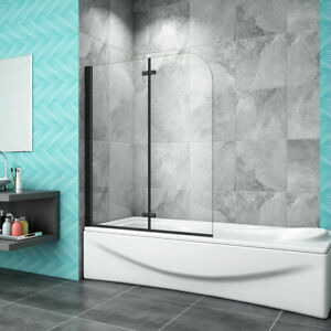 Matt Black Aluminum 180 Hinge 2 Fold Bath Shower Screen Door Panel 1400mm Height