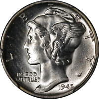 1945-S Mercury Dime Micro S PCGS MS66 Superb Eye Appeal Strong Strike