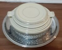 White Royal Rochester Chrome Carrier w/Pottery Covered Casserole dish