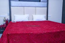 Hand Embroidered Indian Antique Bedspread Decorative Quilt Mirror Work Blanket