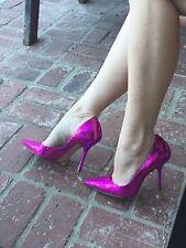 *MeTaLLic PiNk Sz 7 Faux Snakeskin Pointy Toe Stiletto Heel PUMPS CARRIE GuESS