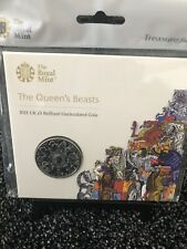 More details for 2021 royal mint queens beasts bu £5 five pound coin pack - completer coin