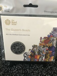 2021 Royal Mint Queens Beasts BU £5 Five Pound Coin Pack - Completer Coin