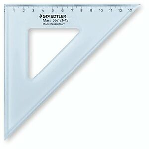 Staedtler Geometry Set Squares Clear/Blue  - Various Sizes/Lengths Available