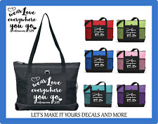 WEAR LOVE EVERYWHERE YOU GO RELIGIOUS INSPIRATIONAL BIBLE VERSE TOTE BAG PURSE