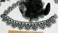 """Antique French Black Handmade Maltese Lace With Jet Beads~L-111"""" X W-3.5"""""""