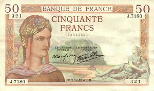 50 FRANCHI 1937 - CINQUANTE FRANCS - BANQUE DE FRANCE - LETTRE J