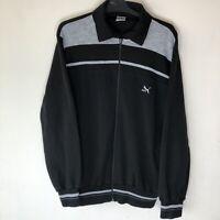 Puma Men's Size Large L Vintage Black Grey Zip Sweater Jumper Vtg Track Top