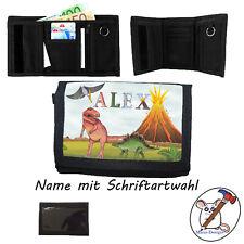 Dino Geldbörse mit Name, Geldbeutel, Klettverschluss, Name + Schriftartwahl