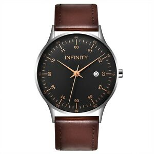 Infinity COM 01 Silver + Brown Men's Minimalist Watch - Brown Leather Strap