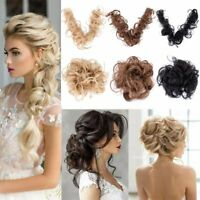 Long Natural Curly Messy Bun Hair Piece Scrunchie Hair Extensions as Human Hair