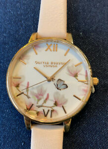 New OLIVIA BURTON Ladies Butterfly & Flowers Pale Pink Leather Strap Gold Face