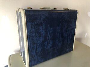 Vintage Samsonite Luggage Blue Marble Hardcase Series 4716 Carry on Overnight