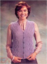 "Ladies Mohair VNeck Lace Panel/Plain Waistct Lrg Szs 40-50"" Knittng Pattrn 10144"