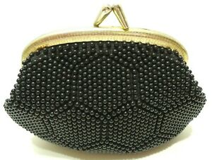 VINTAGE WOMENS BLACK COIN PURSE SNAP KISS CLOSURE PLASTIC COATED NUBBY FABRIC