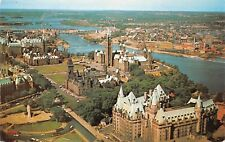 Ottawa Ontario CA Aerial View Chateau Laurier Hotel Parliament Vintage Postcard
