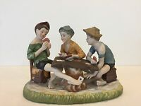 """Capodimonte Italy  """"The Cheaters"""" 3 Boys Playing Cards, Marked, 7 1/2"""" T x 11"""" W"""