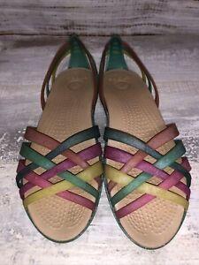 Crocs Isabella Huarache Pastel Rainbow Jelly Sandals size 8 Open Toe Flat