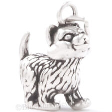Kitten Charm Pendant Kitty Cat Jewelry Sterling Silver 3D Solid 925 so cute!