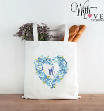 BLUE FLORAL FLOWER WREATH NAME INITIAL TOTE SHOPPER SHOPPING BAG PERSONALISED