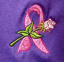 Pink Ribbon Rose T Shirt XL Breast Cancer Awareness Short Sleeve Purple New