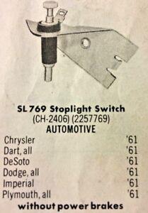 61 Chrysler Dodge Desoto Plymouth Stoplight Switch (SL769)