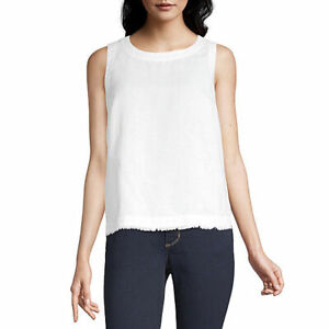 NWT Liz Claiborne Crew Neck White Sleeveless Tank Top  Shirt Size XL