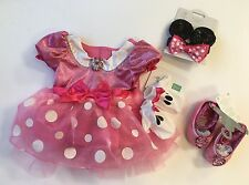 NWT Disney Store Pink Minnie Mouse Sz 6-12 Costume Dress Gloves Ears & Shoes