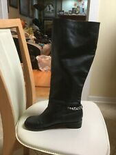 Christian Louboutin Cate Chain Knee High SINGLE RIGHT Boot Black Leather