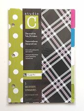 "Studio C Decorative 5 Tab Dividers, 6"" x 8.5"" - for 8.5"" x 5.5"" Ring Binders, Si"