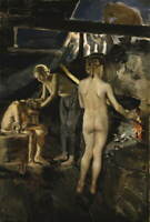 Akseli Gallen Kallela In The Sauna Poster Reproduction Giclee Canvas Print