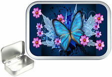 Blue Butterfly,Silver Hinged Tobacco Tin, Sweet Tin. Pill Tin,Pocket, 1oz & 2oz