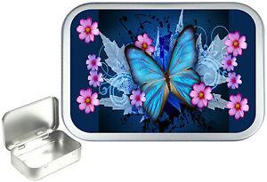 Blue Butterfly, 50ml Silver Hinged Tobacco Tin, Sweet Tin. Pill Tin, Craft Tin