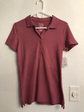 Time and Tru Women's Short Sleeve Polo Shirt ~ Size S (4-6) ~ Plum ~ NWT