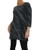 Womens Loose Fit Tunic Top Stretchy Lurex Glitter Sparkle Black Silver 8-10
