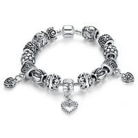 European Silver Plated Heart Beads Charm Bracelet & Bangle with Charms for Women