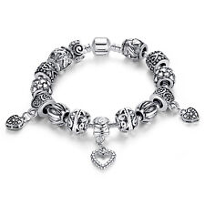 European Silver Charm Bracelet & Bangle With Heart Beads Charms Handmade Jewelry