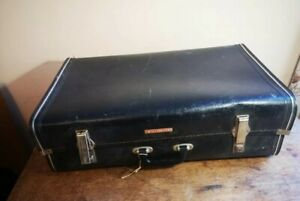 Antique Leather Lined Travel Case Trunk Steamer Vintage Suitcase Prop Display