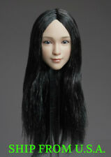 "1/6 Female Head Sculpt C Long Black Hair For 12"" PHICEN Hot Toys Figure ❶USA❶"