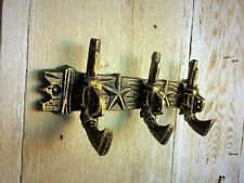 Cast Iron Wall Mounted Hook Hanger 3 Guns with Antique Gold Look